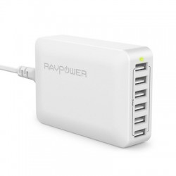 60W 12A 6-Port USB Charger Desktop Charging Station EU Black