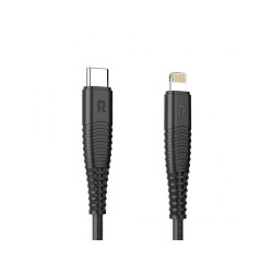 RP-CB019 1m Type-C to Lightning Nylon Yarn Braided Lightning Cable Black Offline