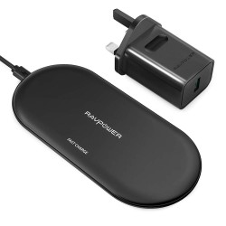RP-PC067 4 Coils Wireless Charger for iPhone 5W and Samsung 10W Black