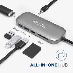 HooToo USB C Hub. 6-in-1 Premium USB C Adapter with Type C Charging Port